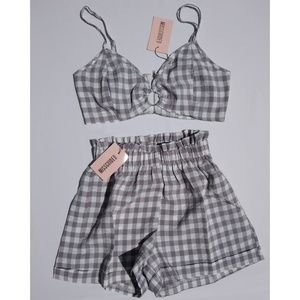 MissGuided White Gray Plaid Bralet & Short Set sz6